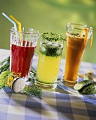 Beetroot juice, cucumber juice with herbs and carrot juice