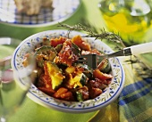 Courgette & tomato ragout with onion, garlic and rosemary