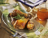 Roast chicken legs with honey and garlic marinade