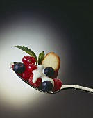 Fresh berries with cream and biscuit on spoon