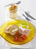Diet breakfast: wholemeal bread, chicken slices and muesli