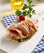Open ham sandwich, radishes and beer