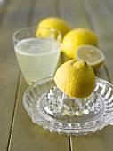 Zitronenpresse, Zitronen und ein Glas heiße Zitrone