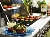 Grilled sausages with dill potatoes