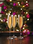Drei Gläser Champagner, im Hintergrund Weihnachtsbaum