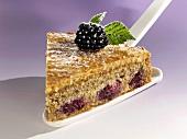 A piece of blackberry nut cake on cake server