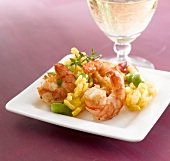 Risotto with prawns and a glass of white wine