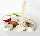 Weisswurst (white sausage), wooden fork, mild mustard & radish