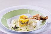 Cauliflower & broccoli foam with seafood & mashed sweet potato