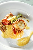 Roasted spiny lobster with rye gnocchi & grilled cashew apple