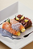 Salmon with queijo coalho, red wine risotto and ink sauce