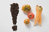 Soil forming an exclamation mark, three tomatoes & two carrots