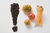 Ausrufezeichen aus Erde, drei Tomaten und zwei Karotten