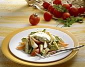 Asparagus, avocado, tomato and egg salad