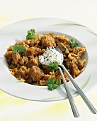 Szeged goulash made with pork and sauerkraut
