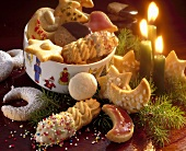Dish of biscuits and Advent arrangement