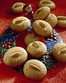 Almond cookies with Father Christmas figure