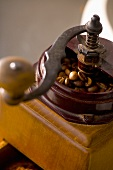 Old coffee mill with coffee beans