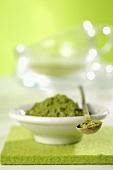 Green tea (powder) in a dish