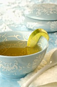 Tea to treat a cold with slice of lemon