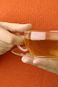 Hand holding a cup of St. John's wort tea