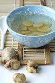 Ginger tea in tea bowl