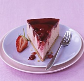 A piece of berry cheesecake