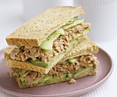 Tuna and cucumber sandwiches in wholemeal bread