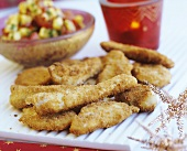 Breaded chicken strips (party food)