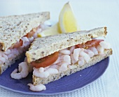 Shrimp and tomato sandwich in wholemeal bread
