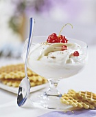 High-fat quark with redcurrants and waffles