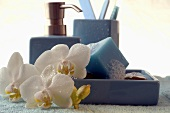 Blue soap cube with orchid