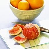Peeled pink grapefruit