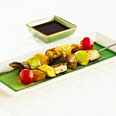 Vegetable kebabs with soy sauce