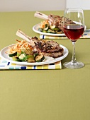 Veal chop with courgettes, bean sprouts and anchovy aioli