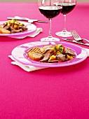 Grilled flank steak with peach salsa