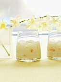 Icy vanilla whisky with Drambuie, vanilla extract, milk, orchids