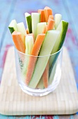 Vegetable sticks in a glass