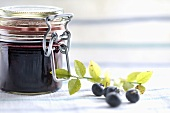 Blueberry jam in jam jar