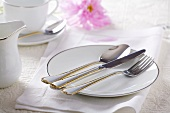Gold-rimmed plate with cutlery