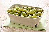 Gooseberries in a cardboard punnet