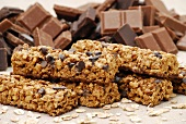 Muesli bars with chocolate chips and pieces of chocolate