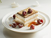 An ice cream cake with biscuit and raspberries