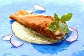 Salmon steak on dill sauce