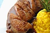 Roast duck breast with saffron risotto