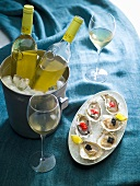 Oysters with caviar and white wine