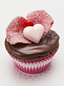 Chocolate cupcake with sugared rose petals