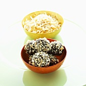 Dark Chocolate Truffles Coated in Toasted Coconut; Bowl of Toasted Coconut