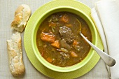Bowl of Tuscan Beef Stew; Bread Stick