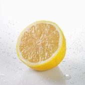A freshly washed half lemon